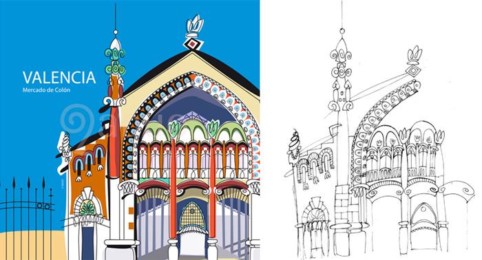 Mercado de Colón, ilustración final y boceto de ADUO