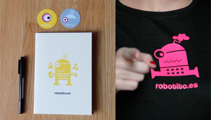 Libretas, pegatinas y camiseta del robotito